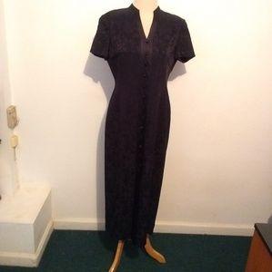 Dana Buchman Navy Blue Floral Maxi Dress